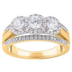 TJD 1.00 Carat Diamond 18 Karat Yellow Gold 3 Stone Vintage Engagement Ring