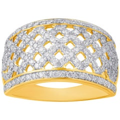 TJD 1.00 Carat Diamond 10 Karat Yellow Gold Fashion Band Ring