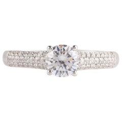 TJD GIA Certified 1.00 Carat Diamond 18 K White Gold Vintage Engagement Ring