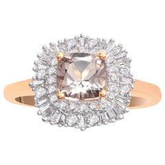 TJD 0.33 Carat Diamond and 6X6 MM Cushion Cut Morganite 18 Karat Rose Gold Ring