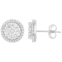 TJD 1.00 Carat Round Diamonds 18 Karat White Gold Halo Cluster Stud Earrings