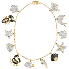 TJD 1.00 Carat Diamond 18 Karat Yellow Gold Aquatic Life Charm Bracelet