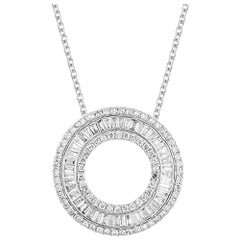 TJD 1.00 Carat Round & Baguette Diamond 14 Karat White Gold Circle Necklace