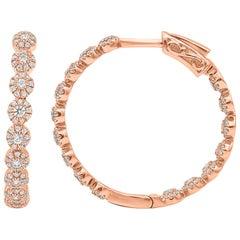 TJD 1 Carat Round Diamond 14K Rose Gold Inside-Out Diamond Hoop Huggie Earrings