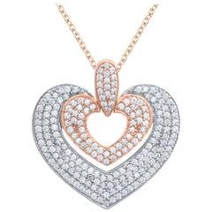 TJD 1.00Carat Diamond 14 Karat Rose Gold Double Heart Pendant with 18 inch chain