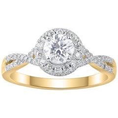 TJD 1.00 Carat Round Diamond 14 Karat Yellow Gold Engagement Ring