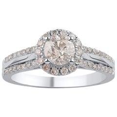 TJD 1.00 Carat Round Diamond 18 Karat White Gold Engagement Ring