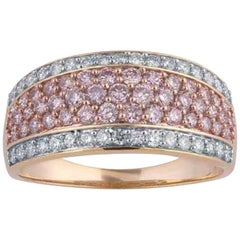 TJD 1.00 Carat Pink and White Diamond 18 Karat Gold Multi Row Wide Wedding Band
