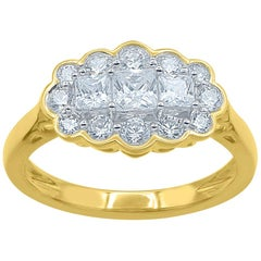 TJD 1.00 Carat Round and Princess Cut Diamond 14 Karat Yellow Gold Fashion Ring