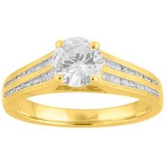 TJD 1.00 Carat Ring 18 Karat Yellow Gold with 2-Row Diamonds Channel Set