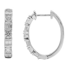 TJD 1.00 Carat Round and Baguette Diamond 14K Yellow Gold Huggie Hoop Earrings