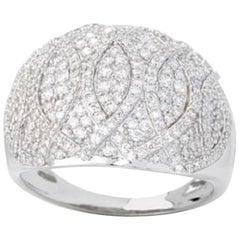 TJD 1.00 Carat Round Diamond 14 Karat White Gold Dome Wedding Band Ring