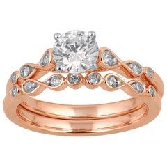 TJD 1.00 Carat Round Diamond 18 Karat Rose Gold Infinity Bridal Ring Set