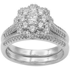 TJD 1.00 Carat Round Diamond 18 Karat White Gold Double Halo Bridal Ring Set
