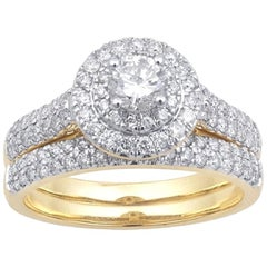 TJD 1.00 Carat Round Diamond 18Karat Yellow Gold Double Halo Bridal Set