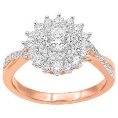 TJD 1Carat Round Diamond 14K Rose Gold Twisted Shank Floral Halo Wedding Ring