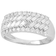 TJD 1Carat Round and Baguette Diamond 14 Karat White Gold Wide Wedding Band Ring