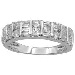 TJD 1Carat Round & Baguette Diamond 14 Karat White Gold Wedding Anniversary Band