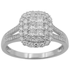 TJD 1.00 Carat Round Brilliant and Princess Cut Diamond 14 Karat White Gold