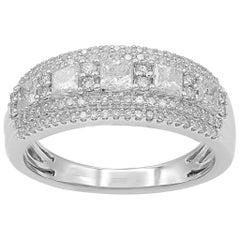 TJD 1Carat Round and Princess Cut Diamond 14K White Gold Multi-row Wedding Band