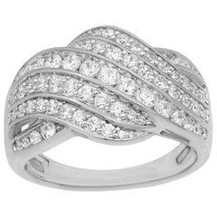 TJD 1.00 Carat Round Diamond 14 Karat White Gold Entangled Wide Wedding Band