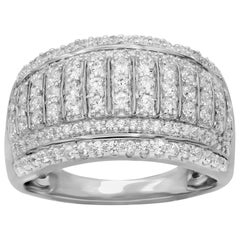 TJD 1Carat Round Diamond 14K White Gold Multi-row Wedding Anniversary Band Ring
