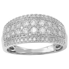 TJD 1Carat Round Diamond 14 Karat White Gold Multi-row Wide Wedding Band Ring