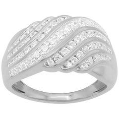 TJD 1.00 Carat Round Diamond 14 Karat White Gold Wave Wedding Band Ring