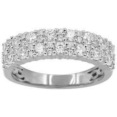 TJD 1 Carat Round Diamond Cut 14 Karat White Gold Wedding Anniversary Band Ring