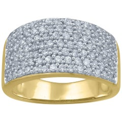 TJD 1 Carat Diamond 14 Karat Yellow Gold Multi-Row Wedding Anniversary Band Ring