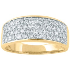 TJD 1 Carat Diamond 14 Karat Yellow Gold Multi-Row Wedding Anniversary Band