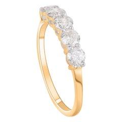 TJD 1.00 Carat Brilliant Cut Diamond 14 Karat Yellow Gold Wedding Band