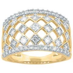 TJD 1.00 Carat Round Diamond 14 Karat Gold Art Deco Style Net Wedding Band Ring