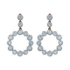 TJD 1.00 Carat Round Diamond 14 Karat Rose Gold Cluster Circle Drop Earrings