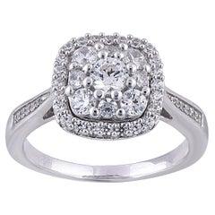 TJD 1.00 Carat Round Diamond 14 Karat White Gold Cushion Shape Cluster Halo Ring