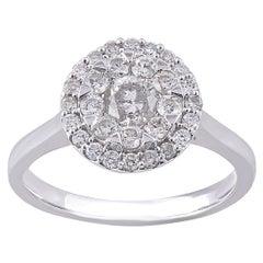 TJD 1.00 Carat Round Diamond 14 Karat White Gold Engagement wedding Ring