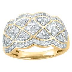 TJD 1.00 Carat Round Diamond 14 Karat Yellow Gold Wide Fashion Band Ring