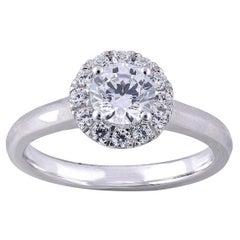 TJD 1.00 Carat Round Diamond 18 Karat White Gold Halo Engagement Wedding Ring