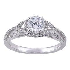 TJD 1.00 Carat Round Diamond 18 Karat White Gold Halo Wedding Engagement Ring