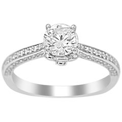 TJD 1.00 Carat Round Diamond 18K White Gold Engagement Ring with Shoulder Stones
