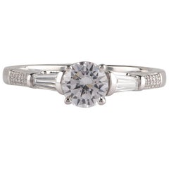 TJD GIA Certified 1.00 CT Round and Baguette Diamond 18K White Gold Bridal Ring