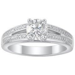 TJD 1.15 Carat Round Diamond 18 Karat White Gold Bridal Ring