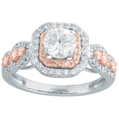 TJD 1.20 Ct Nat. Pink Rosé and White Diamond 18K 2Tone Halo Gold Engagement Ring