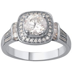 TJD 1.25 Carat Round and Baguette Diamond 18 K White Gold Halo Engagement Ring