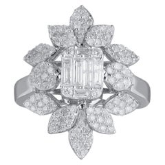 TJD 1.25 Carat Brilliant Diamond 18 Karat White Gold Floral Diamond Ring
