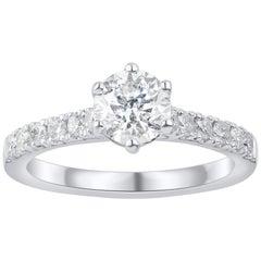 TJD 1.35 Carat Round Diamond 18 Karat White Gold Engagement Bridal Ring