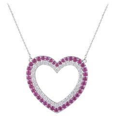 TJD 1.35 Carat Round and Natural Ruby 14 Karat White Gold Diamond Heart Pendant