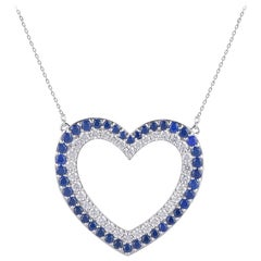 TJD 1.35 Carat Nat Blue Sapphire/Round diamond 14K White Gold Open Heart Pendant