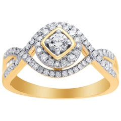 TJD 1/2 Carat Diamond 14 Karat Yellow Gold Cluster Twist Engagement Ring