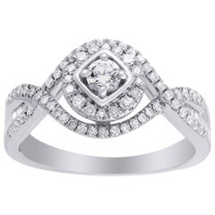 TJD 1/2 Carat Natural Diamond 14 Karat White Gold Engagement Ring